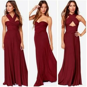 Lulus Burgundy Convertible Bridesmaid Maxi Dress